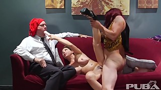 Cuckold wife fucks sword swallowing carni