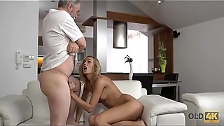 OLD4K. Young wife enjoys pleasurable morning with old husband