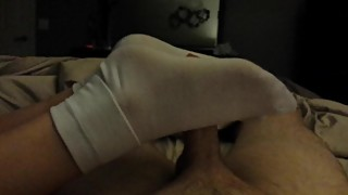 Wife sockjob / footjob / solejob in socks in thin white cuff ankle socks