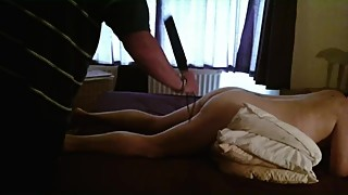 WIfe spanked and brought to orgasm