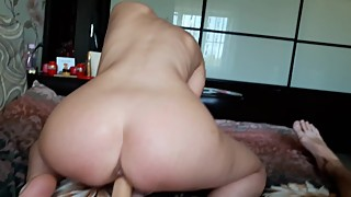 Dildo riding wife recorded on camera - slut housewife love to be used only