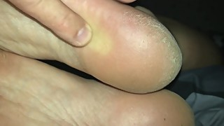 Wife's rough and slightly dirty sleepy soles