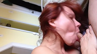 Hairy wife sucks cock shows her spread pussy and asshole