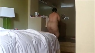 Wife nude after a shower in Florida