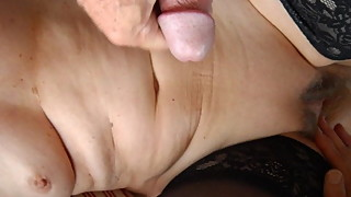 wife poses and strokes my balls for cum