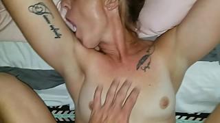 giving hot brunette wife some dick before bed,amateur quickie