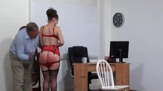 Wife spanked over her dress,panties&on her barebottom by her husband