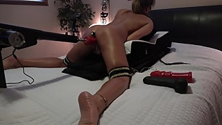 AMATEUR WIFE 3 DILDOS & BUTT PLUG 3 EXTREME SQUIRTING ORGASMS MACHINE FUCK