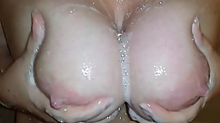 Wife Washes Her Big Natural Tits