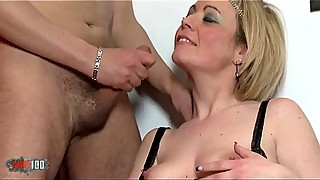 French housewife with hairy pussy fucked in the ass in the bathroom