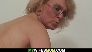 Wife finds old blonde granny riding hubby's cock