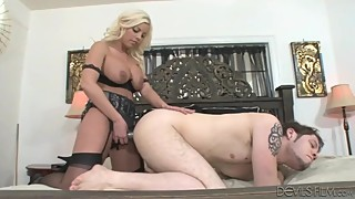 Wife mistress pounds husband's ass with strapon