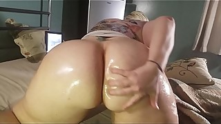 MistressNicHole35 oiled up her big sexy milf ass, and shows it off to Mossimo