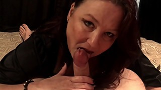 Hot Mature Milf Wife Blows Husband and Plays With His Cum - POV Ending