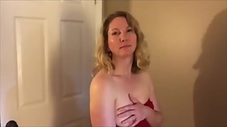 Shy Wife Becky Plays with Her Tits in a Red Dress (short)