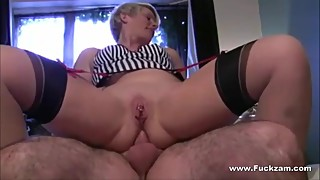 Hot Blond Wife Banged In Ass While Toying Her Fleshy Pussy