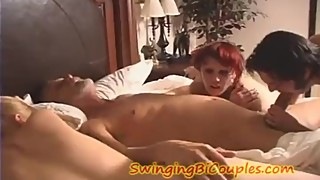 Swingingbicouples Teen wife and hubby suck COCK