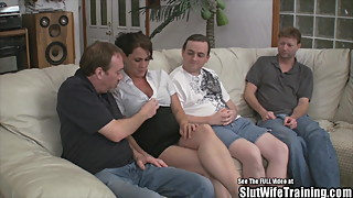 Slut Wife Fucks Three Guys for Hubby
