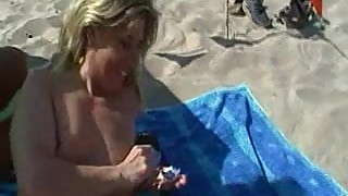 french slutwife lisa naked on the beach