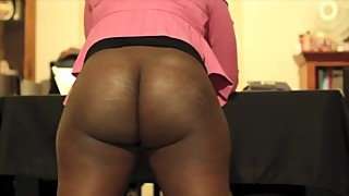 Ebony wife spanked with the belt on her barebottom by her husband