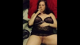 Sexy wife smokes cigarette and sucks my dick !