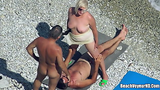 Mature Nudist Granny Milf Fucked At The Beach with voyeurs