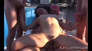 Naughty wife gangbanged by her hubby and his buddies