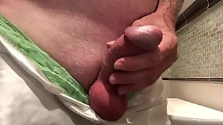Wifea€™s White Santin and Green Panties huge cumshot