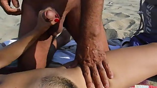 Old local cums on my wife on beach
