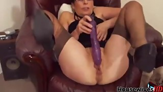 Nylon wife masturbates pussy in high heels shoes