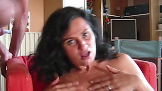 Attractive Real MILF Brunette sucking cock - CIM ending