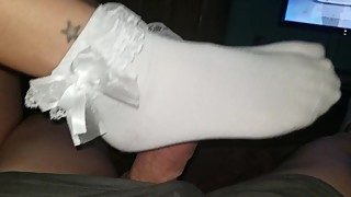 Wifes sexy frilly socks footjob part 1