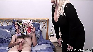 Hot blonde plumper riding married man'_s cock