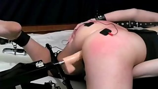 Wife gets fucked by machine and ass beat red