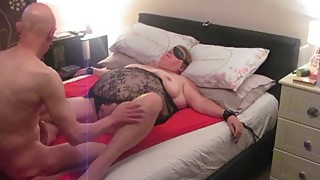 bbw wife,ameture,fuck,stockings,tied up,cucumber
