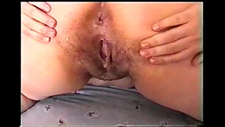 Wife spreads cunt for creampie