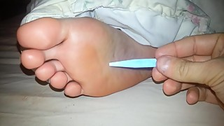 Wife sleepy foot tickle
