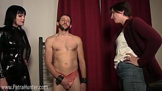 Humiliated and made to model panties in front of wife and Mistress