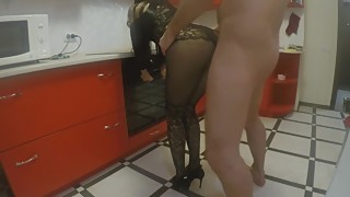 Gorgeous wife fucked from behind in the kitchen