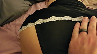 Black Satin Pantie rub