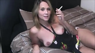 Wife Smoking While Fingering Her Pussy