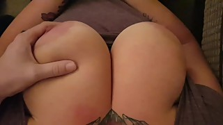 Playing with wife's huge natural breasts