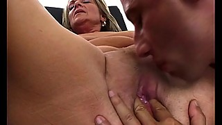 Old Mama Enjoys Young Cock In Her Mouth And Pussy